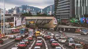 buildings cars city cross harbour tunnel