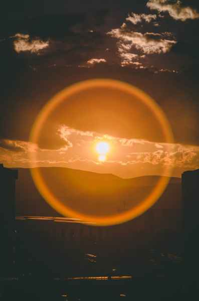 focus photography of sun