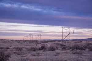 transmission tower in desert