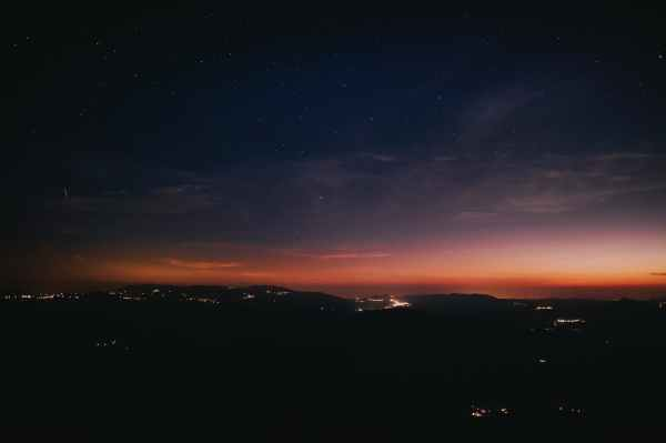 silhouette photography of mountain range during nighttime