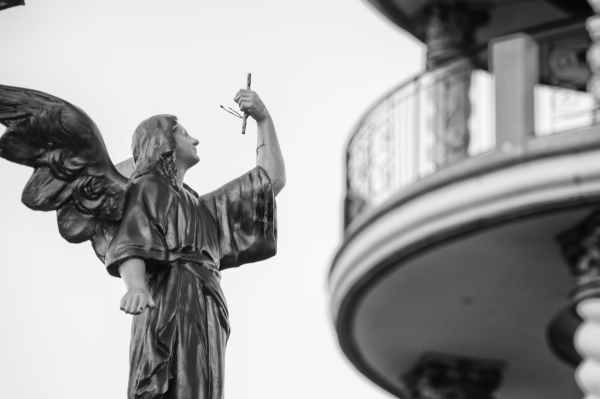 shallow focus architectural photography of angel statue